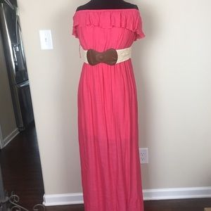 Women's Sz 1X It's Pink Halter Dress 👗 Maxi
